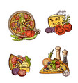 colored hand drawn italian pizza vector image vector image