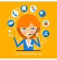 Customer service icon of a call center girl vector image