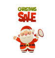 cute cartoon santa claus with megaphone and text vector image vector image