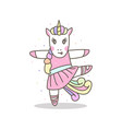 cute unicorn ballerina girl sport ready for print vector image vector image