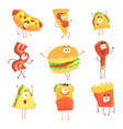 funny fast food set for label design cartoon vector image vector image