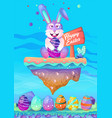 happy easter bunny with colored eggs easter card vector image vector image