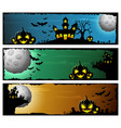happy halloween banner set with scary pumpkins and vector image vector image