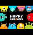 happy halloween greeting card monster frame vector image vector image