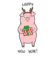 happy new year cute with funny piglet vector image
