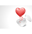 heart gift open with balloon vector image vector image