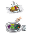how to wash fresh vegetables vector image