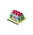 isometric facade cottage near road vector image