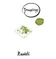 italian dumpling ravioli watercolor vector image