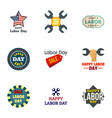 labor day logo set flat style vector image vector image