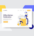 landing page template office worker vector image vector image