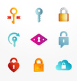 logo icon set based on key and secure lock symbols vector image vector image