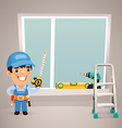 male worker is installing the window vector image vector image
