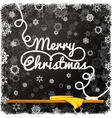 Merry christmas message written on the black vector image vector image