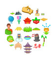 mountain icons set cartoon style vector image
