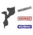 mozambique map in halftone dot style with grunge vector image