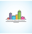 Multi-colored houses and high-rises in the flat vector image vector image