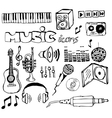 music doodle icons vector image vector image