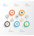 music flat icons set collection of karaoke dj vector image vector image