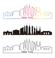 New York skyline linear style with rainbow vector image