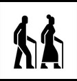 older people on a walk sign icons silhouettes of vector image
