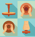 potters wheel icon set flat style vector image vector image