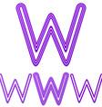Purple line w letter logo design set vector image vector image