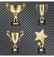 realistic golden trophy cups set vector image vector image