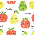 seamless pattern with cute smiling fruits vector image vector image