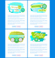 spring sale web posters with promo tags vector image vector image