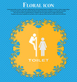 toilet Floral flat design on a blue abstract vector image