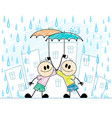 two boys with umbrellas vector image