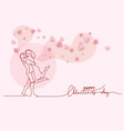 valentines day card continuous one line drawing vector image