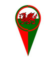 wales map pointer location flag vector image vector image