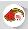 watermelon shopping cart graphic vector image vector image