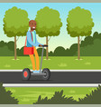 young african man riding on scooter in the par vector image