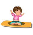 young woman sitting in yoga lotus pose vector image vector image