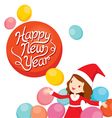Girl In Santa Costume With Balloons vector image