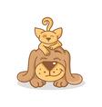 cartoon cat and dog vector image