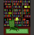 cartoon flat interior library room or office vector image