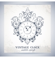 Old vintage wall clock postcard vector image