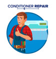 air conditioner repair service technician vector image vector image