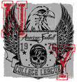 american football eagle logo tee graphic poster vector image