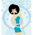 Beautiful glamour karaoke girl vector image vector image