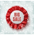 Big sale realistic red label with ribbons vector image