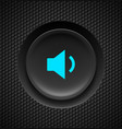 black button with blue sound sign on carbon vector image vector image