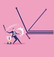 businessman swinging baseball bat hit the arrow vector image vector image