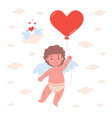 card with cupid character holding heart balloon vector image vector image