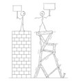 cartoon of two men or businessmen standing on top vector image vector image