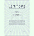 certificate template with guilloche texture vector image vector image